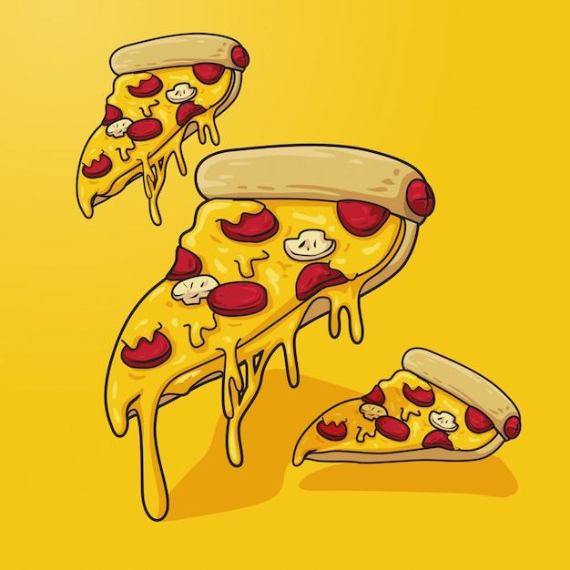 Pizzaabbildung auf gelb Premium Vektoren