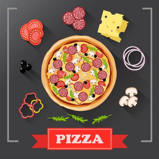 Pizzabestandteile auf tafel, mit unterzeichneten bestandteilen. Premium Vektoren