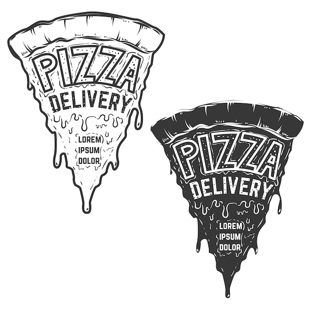 Pizzalieferdienst. ein stück pizza mit schriftzug. element für logo, etikett, emblem, zeichen, poster. illustration. Premium Vektoren
