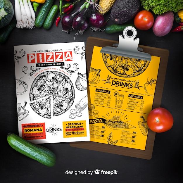 Pizzamenüschablone in der weinleseart Kostenlosen Vektoren
