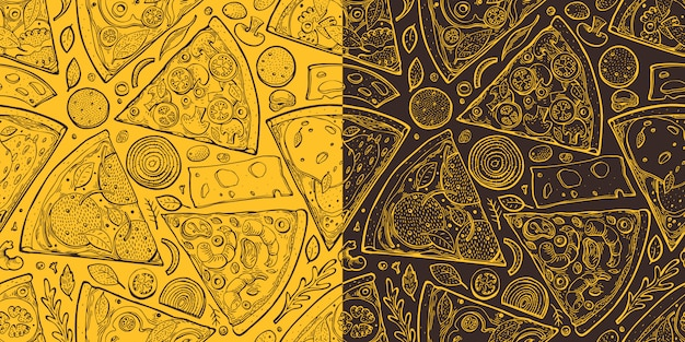 Pizzaschnitte nahtloses muster. hand gezeichnete italienische lebensmittelillustration. gravierter stil retro food hintergrund. retro fast food. Premium Vektoren