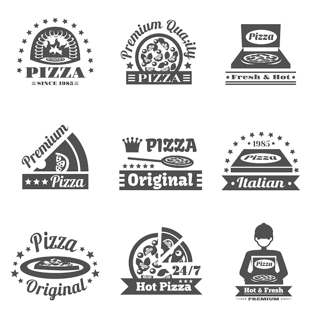 Pizzeria-beschriftungssatz Premium Vektoren
