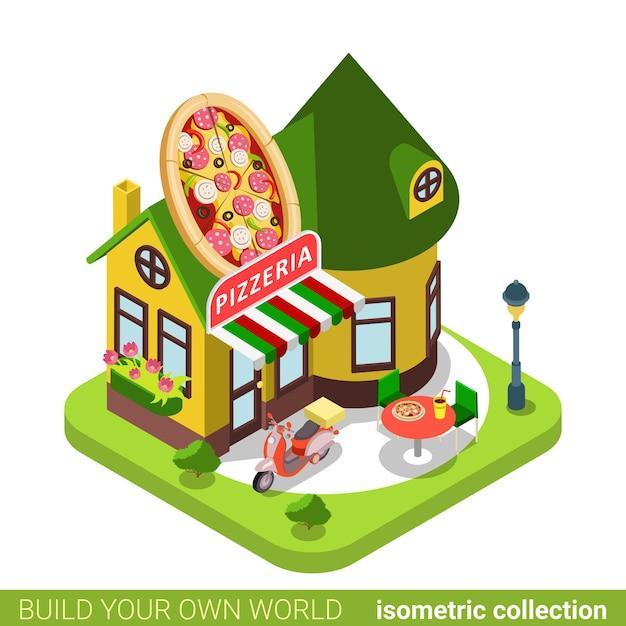 Pizzeria cafe restaurant shop pizza form gebäude immobilien immobilienkonzept. Premium Vektoren
