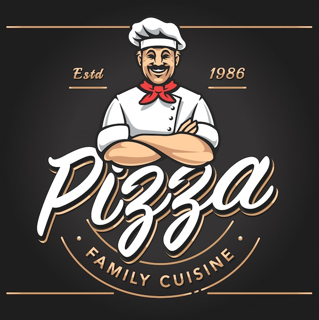 Pizzeria Emblem Design Kostenlose Vektoren