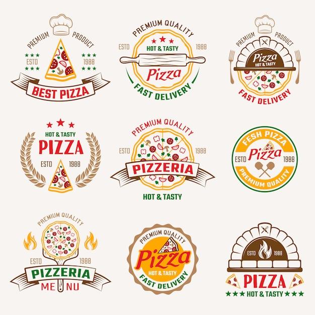 Pizzeria farbige embleme Kostenlosen Vektoren