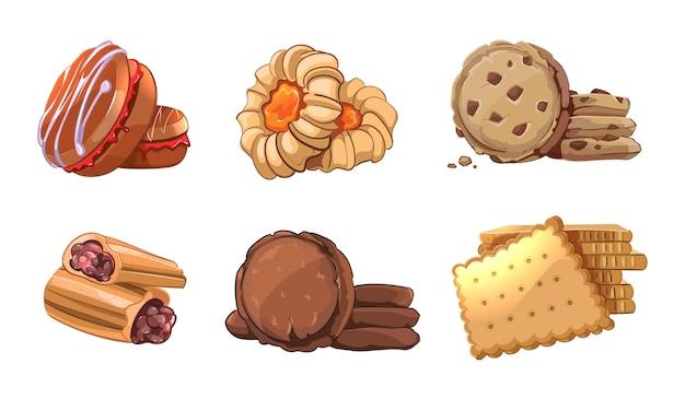 Plätzchenvektorikonen stellten im karikaturstil ein. backelement, snackernährung, leckeres dessert, brötchen lecker, gebäck essen Kostenlosen Vektoren