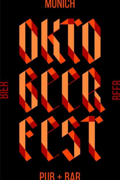 Plakat, banner mit text oktoberfest, berlin, oktober, bier und pub. plakat für bar, kneipe, restaurant, bierthema. buntes grafikdesign für traditionelles festival oktoberfest. Premium Vektoren