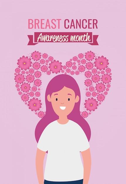 Plakat brustkrebs-bewusstseinsmonat mit frau Kostenlosen Vektoren