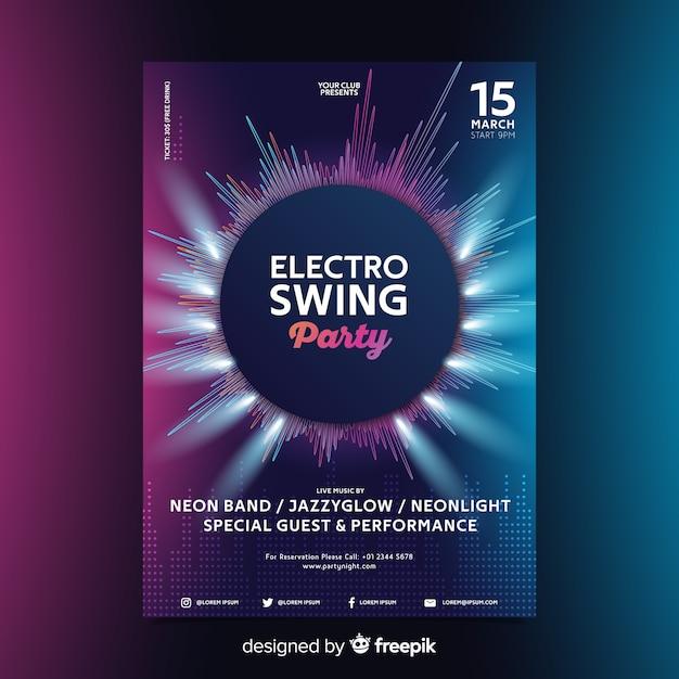 Plakat der abstrakten welle der elektronischen musik der schablone Kostenlosen Vektoren