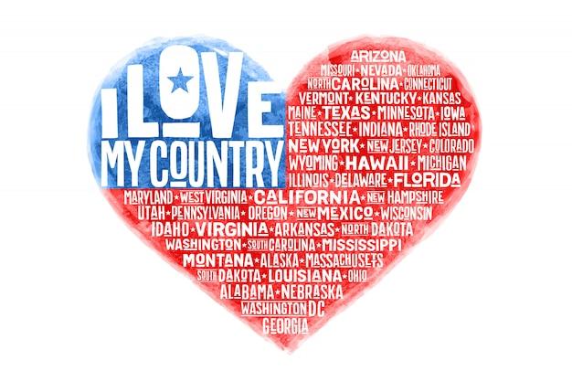 Plakat der aquarellherzform-flagge der vereinigten staaten von amerika Premium Vektoren