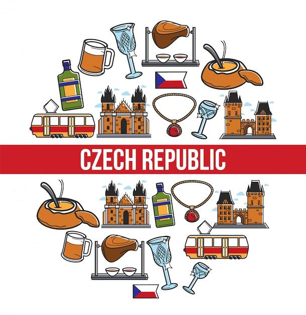 Plakat der berühmten sehenswürdigkeiten der tschechischen republik Premium Vektoren