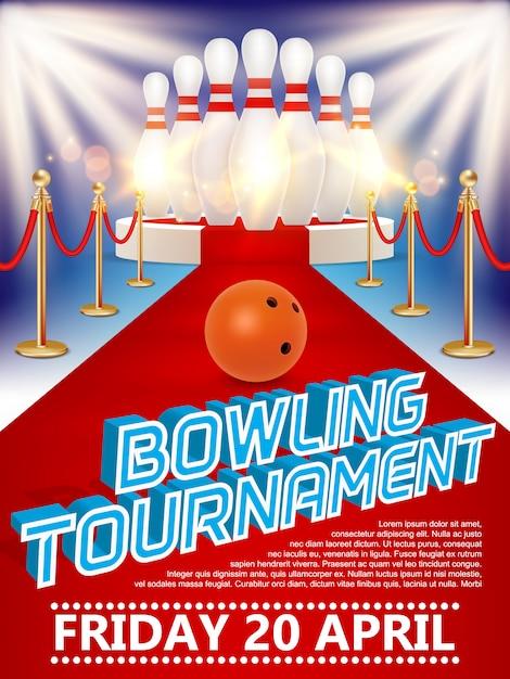 Plakat der bowlingkugel, des kegels, des runden podiums mit rotem teppich und der lichter. Premium Vektoren