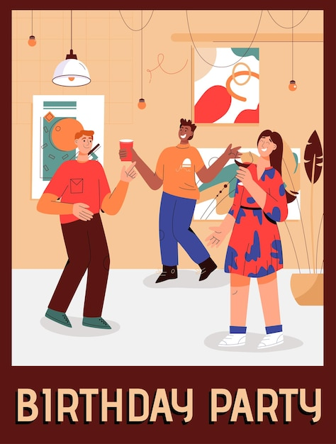 Plakat der geburtstagsfeier zu hause konzept Premium Vektoren