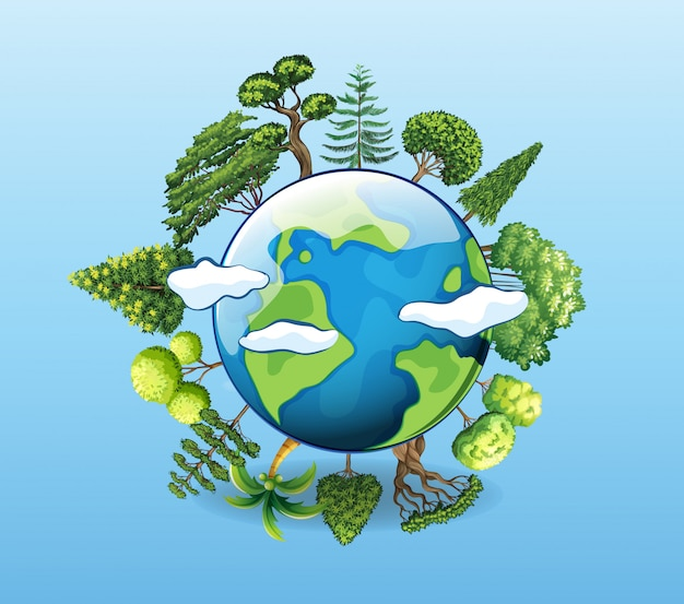 Plakat der globalen erwärmung mit baum auf erde Kostenlosen Vektoren