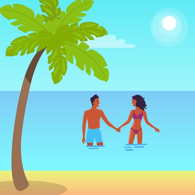 Plakat der ruhigen küste mit palme. vector illustration des mann- und frauenhändchenhaltens und der stellung im meer während des hellen sommertages Premium Vektoren