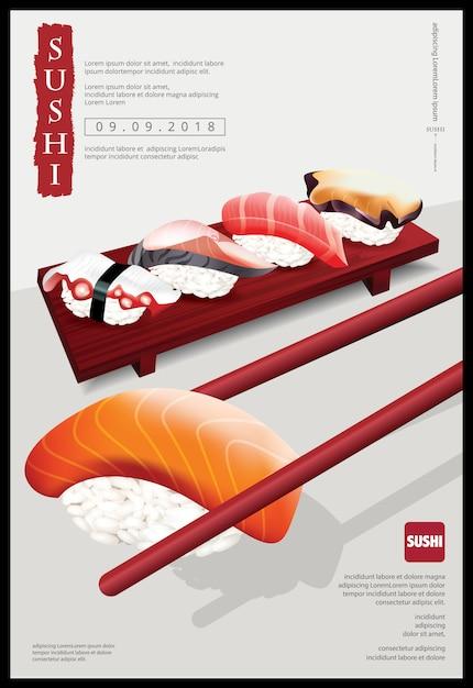 Plakat der sushi-restaurant-vektorillustration Premium Vektoren