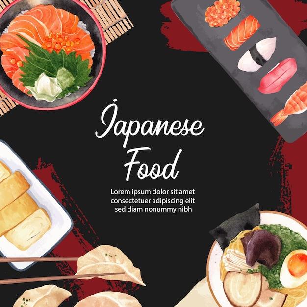 Plakat der sushi-restaurantillustration. japanisch inspiriert im modernen stil Kostenlosen Vektoren