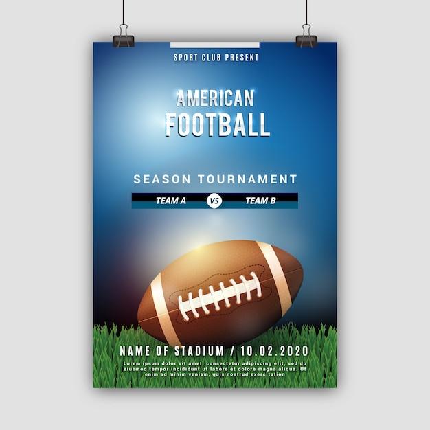 Plakat des amerikanischen fußballs mit ball auf dem feld Kostenlosen Vektoren