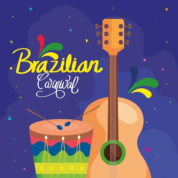 Plakat des karnevals brasilien mit gitarre und trommel Premium Vektoren