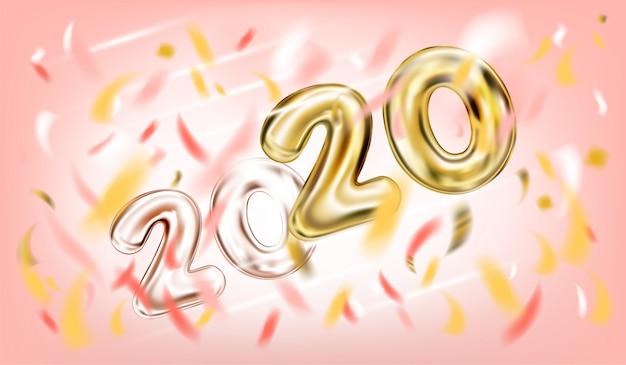 Plakat des neuen jahres 2020 im süßen rosa Premium Vektoren