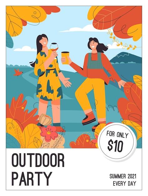 Plakat des outdoor-party-konzepts Premium Vektoren