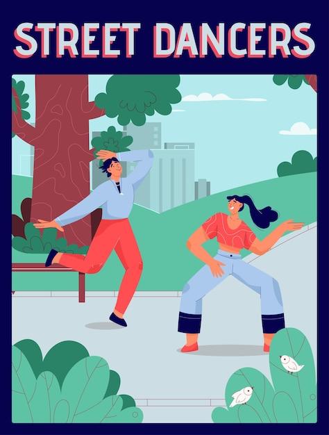 Plakat des street dancers-konzepts. männer und frauen tanzen zusammen in verschiedenen stilen im stadtpark. Premium Vektoren