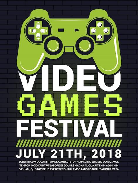 Plakat des videospielfestivals Premium Vektoren