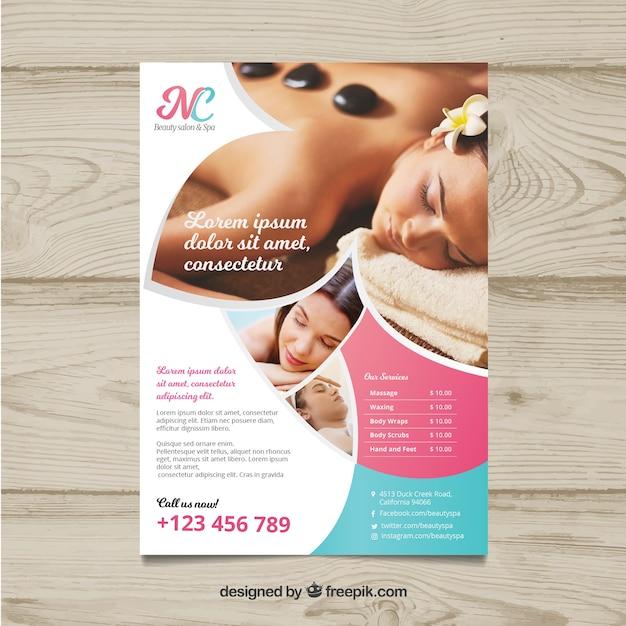 Plakat für ein badekurortzentrum mit einem foto Kostenlosen Vektoren