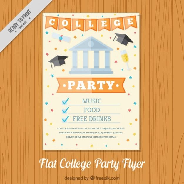Plakat für ein college-partei, flat Kostenlosen Vektoren
