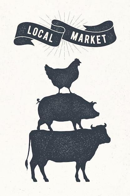 Plakat für lokalen markt. Premium Vektoren