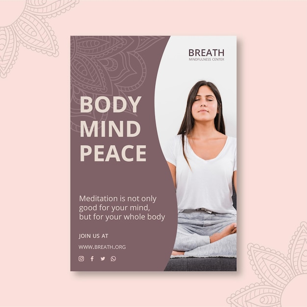 Plakat für meditation und achtsamkeit Kostenlosen Vektoren