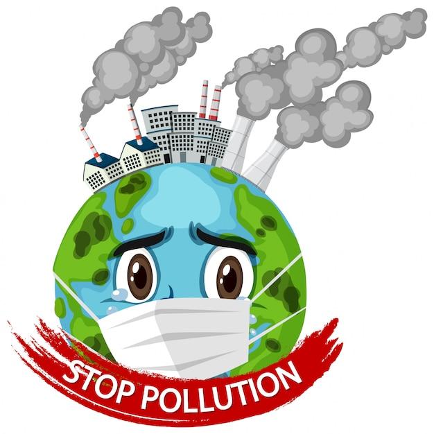 Plakat für stop verschmutzung mit erde tragende maske Premium Vektoren