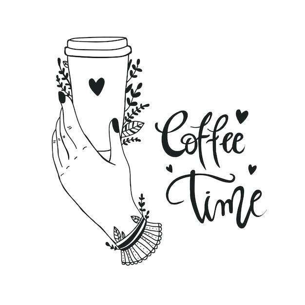Plakat herausnehmen kaffeetasse mit handgezeichneter beschriftung coffee to go für café und kaffee zum mitnehmen. Premium Vektoren