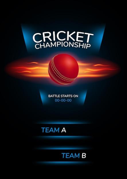 Plakat, hintergrund für cricket-meisterschaft. illustration mit cricketball und vorlagentext Premium Vektoren
