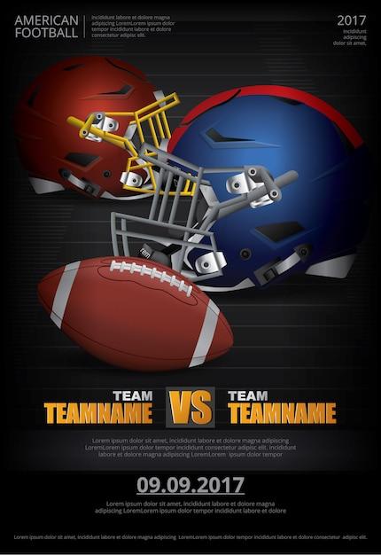 Plakat-illustration des amerikanischen fußballs Premium Vektoren