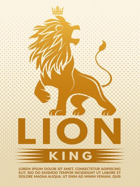 Plakat mit einfarbiger illustration von lion king. entwurfsvorlage mit platz für ihren text Premium Vektoren