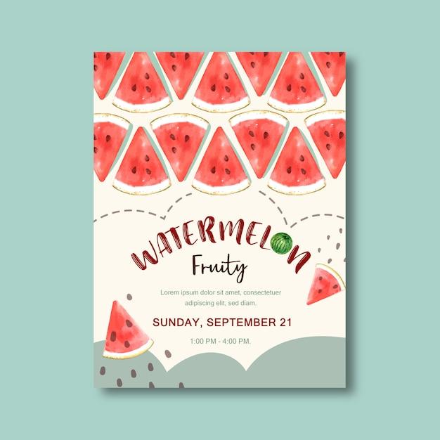 Plakat mit fruchtthema, kreative wassermelonenillustrationsschablone Kostenlosen Vektoren