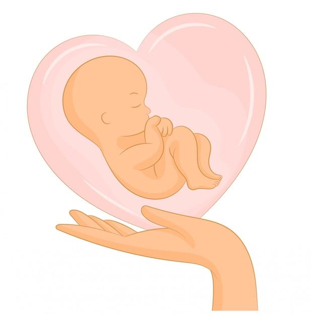Plakat mit neugeborenem baby im herzen Premium Vektoren