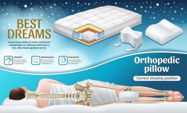 Plakat mit orthopädischer matratze und kissen. Kostenlosen Vektoren