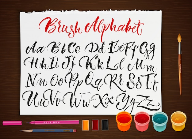 Plakat mit papierblatt mit alphabet Kostenlosen Vektoren