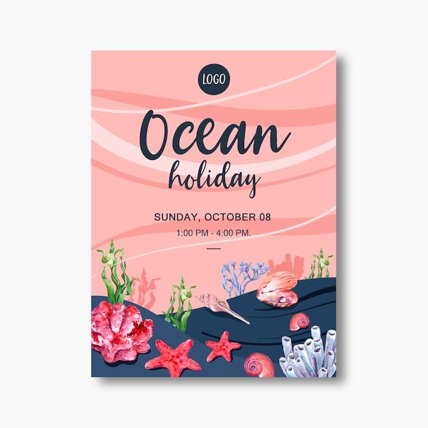 Plakat mit sealife-thema, kreativer starfish mit korallenroter illustrationsschablone Kostenlosen Vektoren