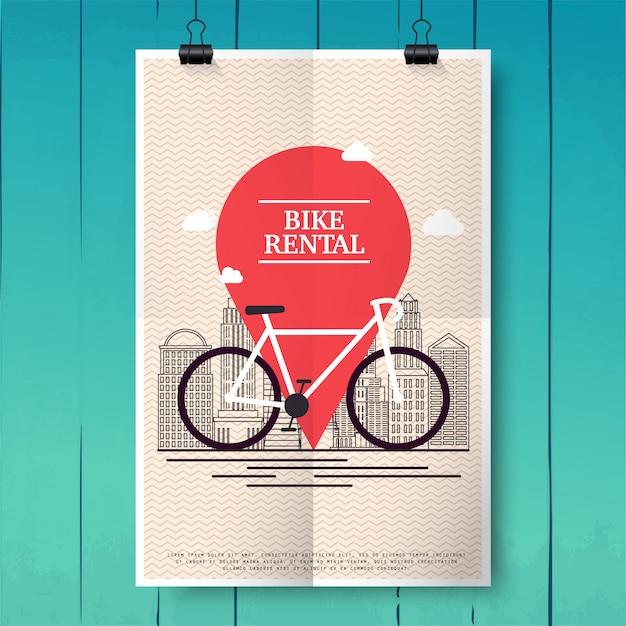 Plakat mit stadtfahrradverleih für touristen und stadtbesucher. poster oder banner vorlage. modernes vektorillustrationskonzept. Premium Vektoren