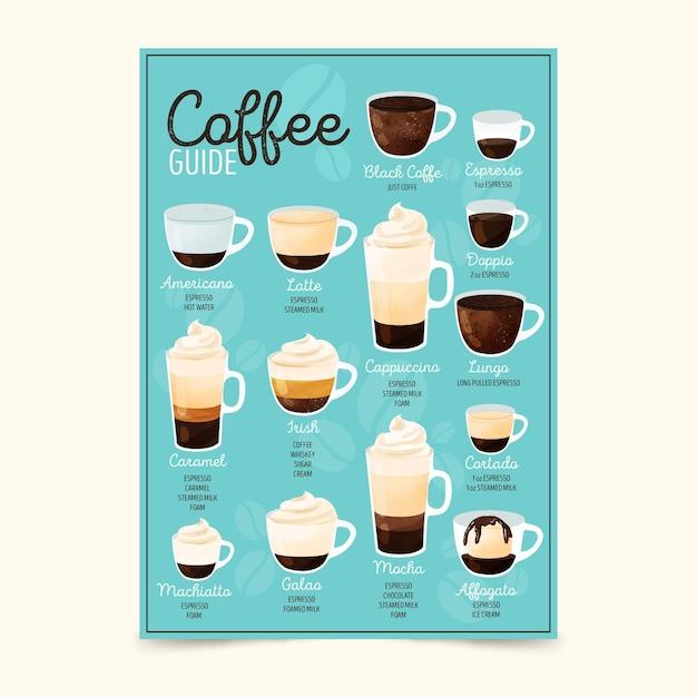 Plakat mit verschiedenen kaffeesorten Kostenlosen Vektoren