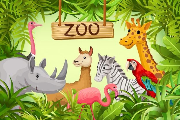 Plakat mit wilden tieren der savanne und der wüste. Premium Vektoren