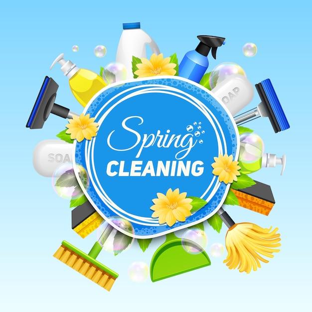 Plakat mit zusammensetzung von verschiedenen werkzeugen für den reinigungsservice gefärbt auf blauem hintergrundvektor Kostenlosen Vektoren