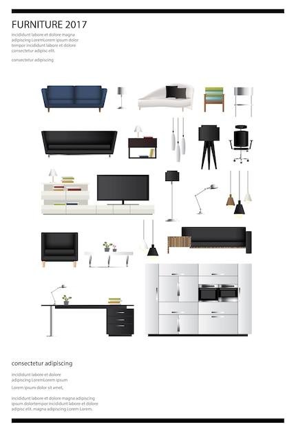Plakat-möbel-verkaufs-vektor-illustration Premium Vektoren