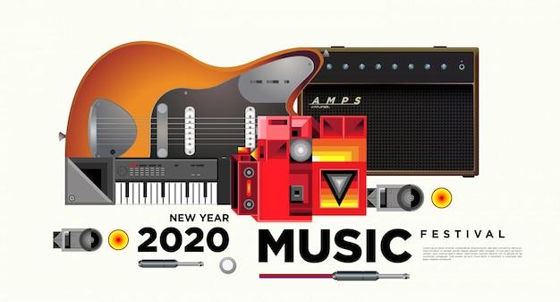 Plakat-schablonendesign des musikfestivals horizontales Premium Vektoren