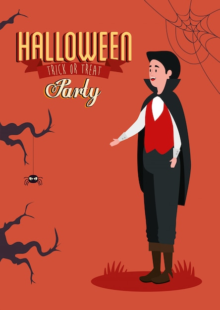 Plakat von party halloween mit dem jungen mann verkleidet vom vampir Kostenlosen Vektoren