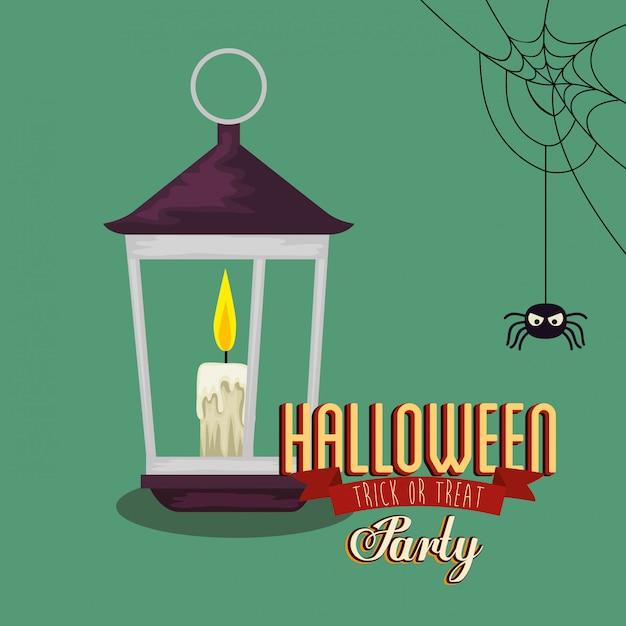 Plakat von party halloween mit laterne und spinne Kostenlosen Vektoren