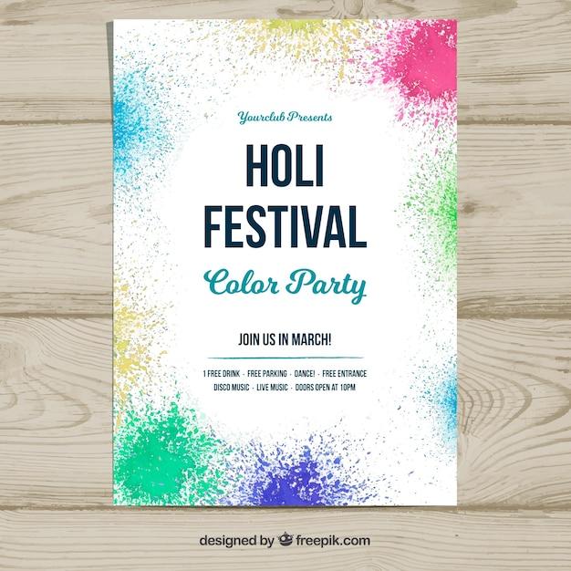 Plakat Vorlage für das Holi Festival | Download der kostenlosen Vektor